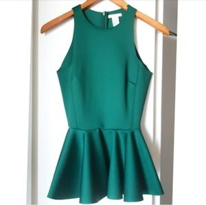 H&M | Gorgeous Emerald Green Peplum Top